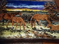 Mokett  selyem  faliszőnyeg, falikárpit , 188 cm x 120 cm.