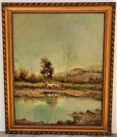 Guzsik Ödön (1902-1954) Itatás c olajfestménye 63x51cm Eredeti Garanciával!!