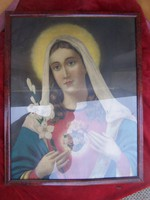 Mária - antik szentkép üvegezett keretben