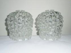 Retro rücskös üveg csillár lámpabúra lámpa bura - 2 db - 1970-es évekből