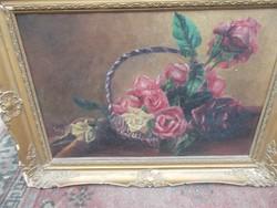 Rózsa csendélet olaj vászon
