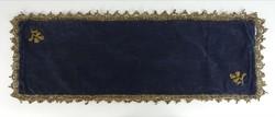 0R462 Régi királykék mikroplüss terítő 24 x 70 cm