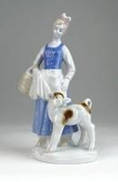0Q600 Régi Bertarm porcelán vízhordó lány szobor