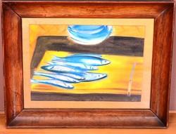 Ismeretlen jelzéssel pasztell karton festmény, 33 x 44 cm, jjl.