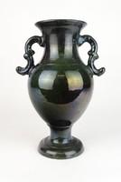 0P063 Régi Badár jellegű kerámia füles váza 27 cm