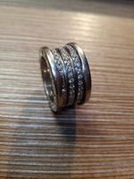18Kt. Fehér arany Bulgari gyűrű eredeti jelzéseivel, ca.2,0ct brill
