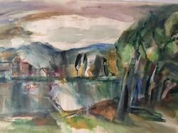 Iglay József csodás akvarellje, kétoldalas tájkép, aukcionált festmény