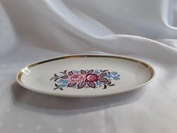 Virágos porcelán tál, arany szegéllyel  /  837
