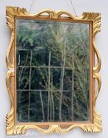 Antik faragott aranyozott hársfa florentin fali tükör 61 x 49 cm, florentin fa keret