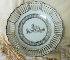 Ezüst lakodalomra,  gyönyörű ezüstözött áttört porcelán tál