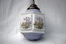 Antik szecessziós tejüveg mennyezeti lámpa kinaizáló stítusban működőképes