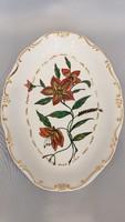 Régi Zsolnay kézi festésű virágmintás fali tányér