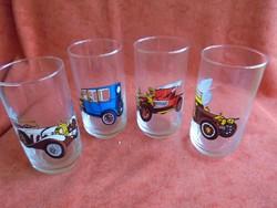 Retro autós üveg pohár (4 db)