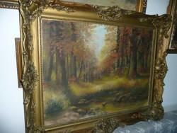 Nagy méretű antik szignált olaj-vászon festmény gyönyörű vastag blondel keretben 101*80 cm