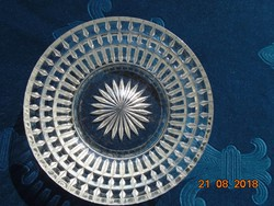 Vastagfalu dombormintás,rozettás,nehéz kristályüveg tál-14 cm
