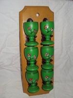 Tojástartó készlet - 6 darab Bajor kézzel festett fa tojástartó falra szerelhető tartóval