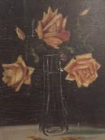 Virág csendélet,olaj festmény 1920-as évekből, eredeti, jelzett, európai jegyzett művésztől (G)