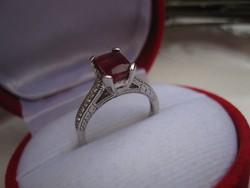925 jelzett repasse vésett rubin köves gyűrű