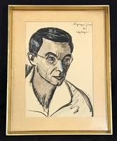 NYERGESI JÁNOS (1895-1982) FÉRFI PORTRÉ JELZETT AKVARELL FESTMÉNY
