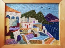 Korényi Attila kortárs festőművész geometrikus fonalkép Korfu 2006.