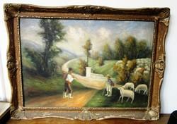 Régi olajfestmény juhászok vászon jelzett (naiv festő)