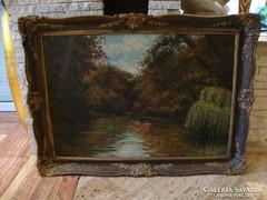 Csónakázók nagyméretű olaj-vászon festmény 84x114 cm