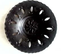 Mohácsi fekete kerámia tányér, falitányér