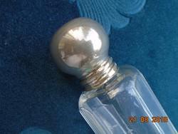Antik 10 szögletes öntött fazettált pipere üveg ezüstözött kupakkal