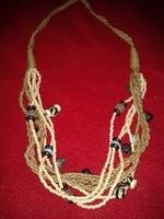 Különleges ásványos, többsoros női nyaklánc, valódi indiai csont - textil - fém lánc