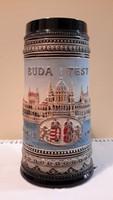 Kézi munka, kézi festésű Hungary sörös korsó