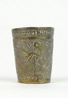 0R991 Antik kisméretű madaras állatmintás pohár