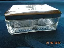 Antik vastagfalú öntött üveg utazó szappantartó ezüstözött fedéllel