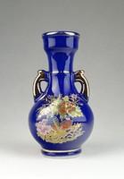 0S018 Kisméretű kék madaras porcelán váza 13 cm