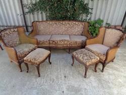 Chippendale ülőgarnitúra 3-as, két fotel, két lábtartó