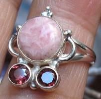 925 ezüst gyűrű, 17/53,4 mm,rodokrozit, gránát