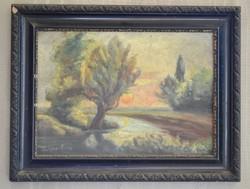 Vidéki tájkép olaj vászonra festve fekete keretben