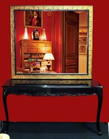 Faragott barokk konzolasztal tükörrel
