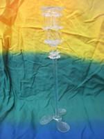 Filigrán üveg gyertyatartó 20,5 cm.