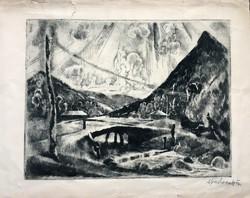Aba-Novák VIlmos: Felsőbánya (1925 körül)