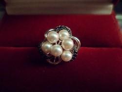 Ezüst gyűrű / gyöngy, onix