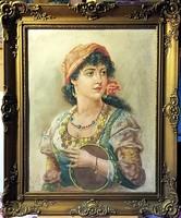 1 napig - Lány csörgődobbal, azonnal falra helyezhető gyönyörű olajportré, 61 x 51 cm