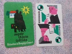 Kártya naptár,1963, 2 db