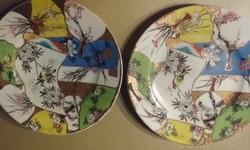 2 db keleti, kézzel festett tányér