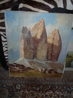 """Olaj-vászon festmény """" Monumentális szikla """""""