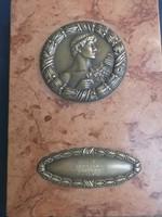 Bronz babérkoszorús Apolló fej -márványlap -díjátadásra, díjkiosztásra