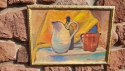 Bereczky Vilmos: Régi reggeliző, Akvarell, aranyos képkeret, falc 42x60 cm, csendélet,