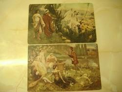 S. Postiglione: Dante és Matilda/Boccacio, 1917. Két képeslap egyben.