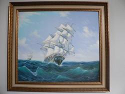 Vihar a tengeren című kép (olaj vászon festmény)