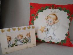 Karácsonyi töltött kispárna 29x29cm-es és 1 db ajándékkísérő képeslap