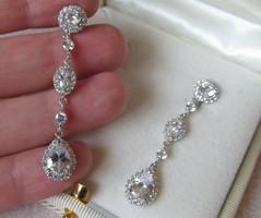 Hosszú köves ezüst fülbevaló - szépen szikrázó kövekkel - új ékszer